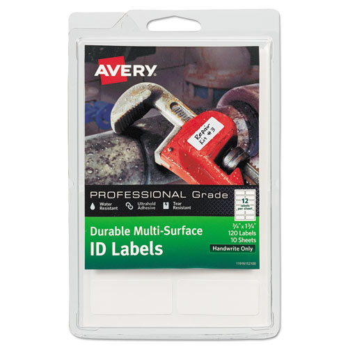 DURABLE PERMANENT MULTI-SURFACE ID LABELS, INKJET/LASER PRINTERS, 0.75 X 1.75, WHITE, 12/SHEET, 10 SHEETS/PACK