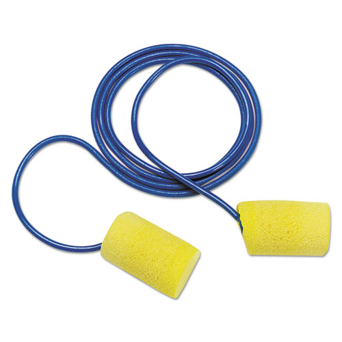 E A R Classic Earplugs, Corded, Pvc Foam, Yellow, 200 Pairs
