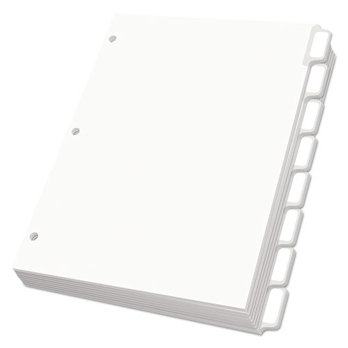 CUSTOM LABEL TAB DIVIDERS WITH SELF-ADHESIVE TAB LABELS, 8-TAB, 11 X 8.5, WHITE, 25 SETS