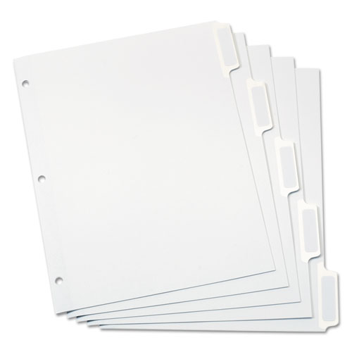 CUSTOM LABEL TAB DIVIDERS WITH SELF-ADHESIVE TAB LABELS, 5-TAB, 11 X 8.5, WHITE, 25 SETS