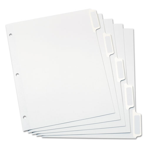 CUSTOM LABEL TAB DIVIDERS WITH SELF-ADHESIVE TAB LABELS, 5-TAB, 11 X 8.5, WHITE, 5 SETS