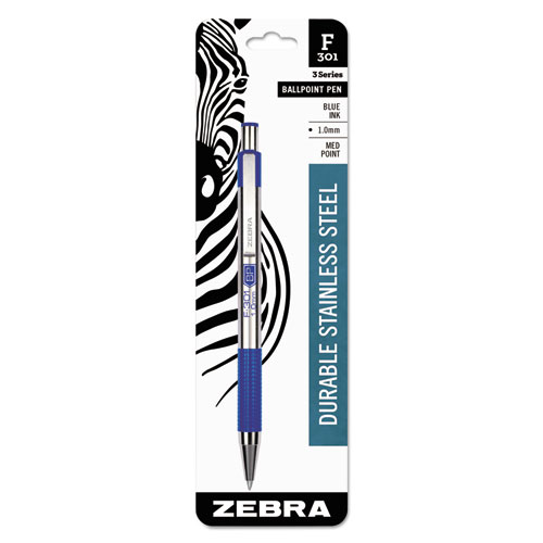 F-301 RETRACTABLE BALLPOINT PEN, 1MM, BLUE INK, STAINLESS STEEL/BLUE BARREL