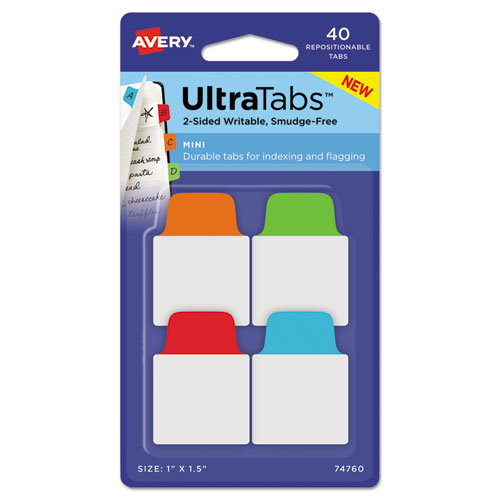 ULTRA TABS REPOSITIONABLE MINI TABS, 1/5-CUT TABS, ASSORTED PRIMARY COLORS, 1