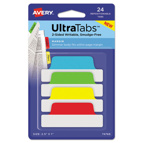 ULTRA TABS REPOSITIONABLE MARGIN TABS, 1/5-CUT TABS, ASSORTED PRIMARY COLORS, 2.5