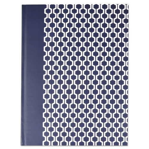 CASEBOUND HARDCOVER NOTEBOOK, WIDE/LEGAL RULE, BLUE/HEX PATTERN, 10.25 X 7.68, 150 SHEETS
