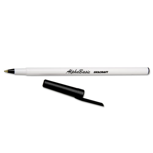7520014845267 SKILCRAFT ALPHABASIC STICK BALLPOINT PEN, 1MM, BLACK INK, WHITE BARREL, DOZEN NSN7520014845267