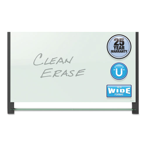 Evoque Magnetic Glass Marker Board With Black Aluminum Frame, 85 X 48, White