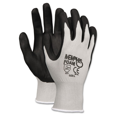 Economy Foam Nitrile Gloves, Large, Gray/black, 12 Pairs