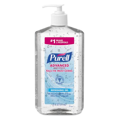 Advanced Hand Sanitizer Refreshing Gel, Clean Scent, 20 Oz Pump Bottle, 12/carton