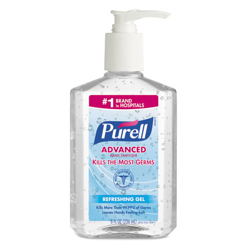 ADVANCED HAND SANITIZER REFRESHING GEL, CLEAN SCENT, 8 OZ PUMP BOTTLE, 12/CARTON