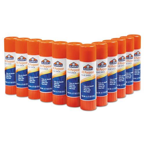 DISAPPEARING GLUE STICK, 0.77 OZ, APPLIES WHITE, DRIES CLEAR, 12/PACK