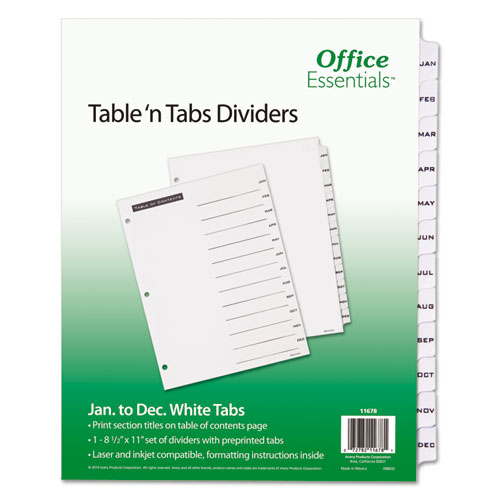 TABLE 'N TABS DIVIDERS, 12-TAB, JAN. TO DEC., 11 X 8.5, WHITE, 1 SET