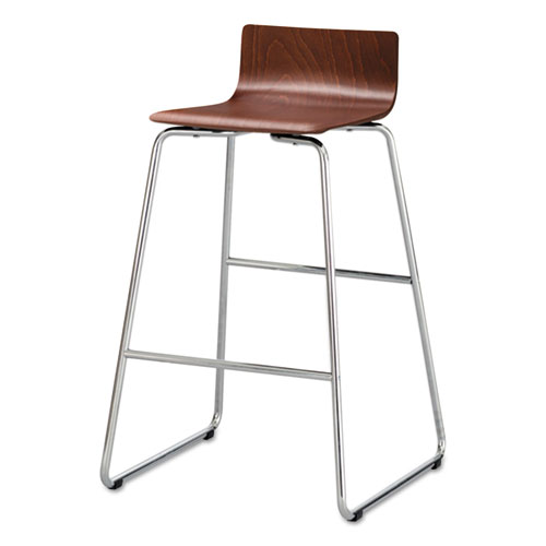 Image for BOSK WOOD STOOL, SUPPORTS UP TO 250 LBS., CHERRY SEAT/CHERRY BACK, CHROME BASE