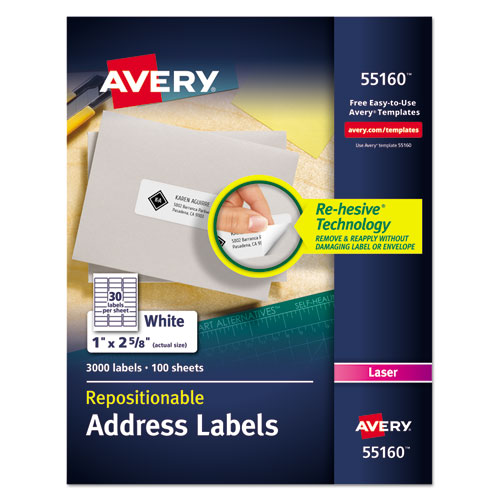 REPOSITIONABLE ADDRESS LABELS W/SUREFEED, LASER, 1 X 2 5/8, WHITE, 3000/BOX