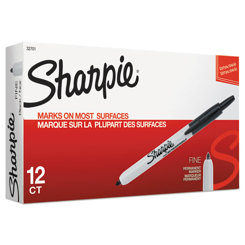 RETRACTABLE PERMANENT MARKER, FINE BULLET TIP, BLACK