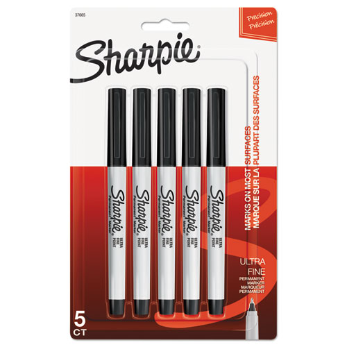ULTRA FINE TIP PERMANENT MARKER, EXTRA-FINE NEEDLE TIP, BLACK, 5/PACK
