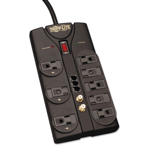 PROTECT IT! SURGE PROTECTOR, 8 OUTLETS, 8 FT CORD, 2160 JOULES, RJ11, DARK GRAY