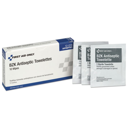 Image for 10 Person Ansi Class A Refill, Bzk Antiseptic Wipes, 10/box