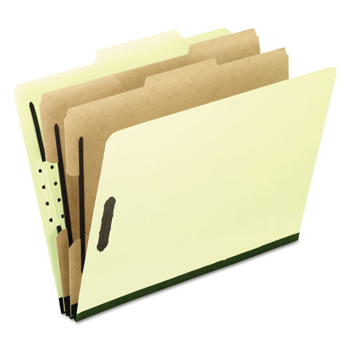 FOUR-, SIX-, AND EIGHT-SECTION PRESSBOARD CLASSIFICATION FOLDERS, 2 DIVIDERS, EMBEDDED FASTENERS, LETTER, LIGHT GREEN, 10/BOX