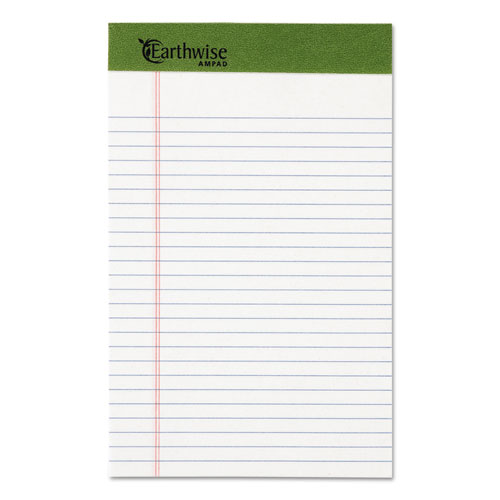 EARTHWISE BY OXFORD WRITING PAD, NARROW RULE, 5 X 8, WHITE, 50 SHEETS, DOZEN