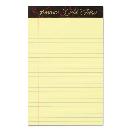 GOLD FIBRE QUALITY WRITING PADS, MEDIUM/COLLEGE RULE, 5 X 8, CANARY, 50 SHEETS, DOZEN