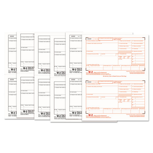 W-2 TAX FORMS, 6-PART, 5.5 X 8.5, INKJET/LASER, 50 W-2S AND 1 W-3