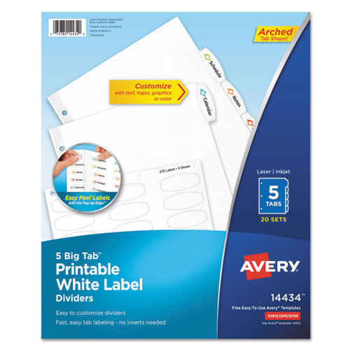 BIG TAB PRINTABLE WHITE LABEL TAB DIVIDERS, 5-TAB, LETTER, 20 PER PACK