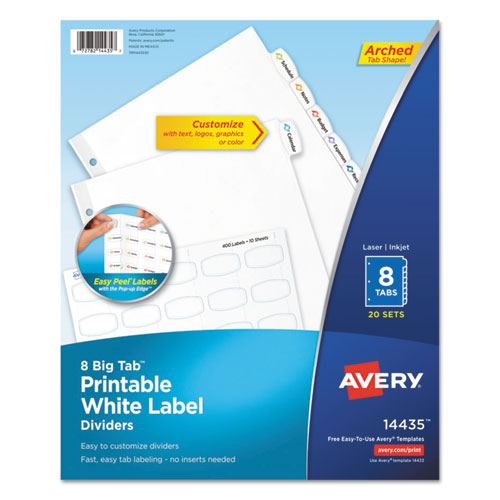 BIG TAB PRINTABLE WHITE LABEL TAB DIVIDERS, 8-TAB, LETTER, 20 PER PACK