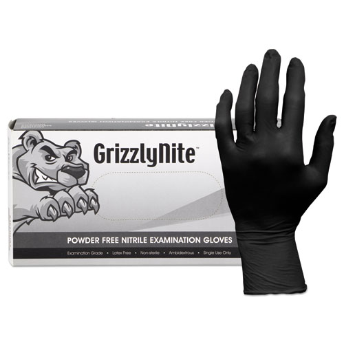Proworks Grizzlynite Nitrile Gloves, Black, Medium, 1000/ct