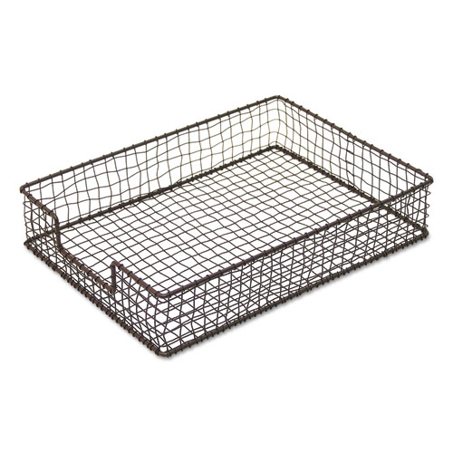 VINTAGE WIRE MESH LETTER TRAY, 1 SECTION, LETTER SIZE FILES, 10.13