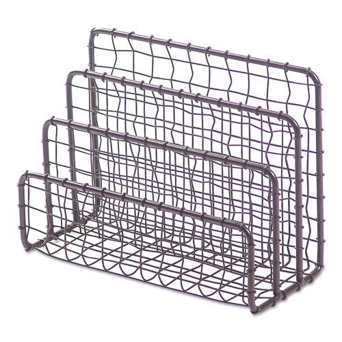 VINTAGE WIRE MESH FILE AND LETTER SORTER, 3 SECTIONS, DL TO LEGAL SIZE FILES, 6.63
