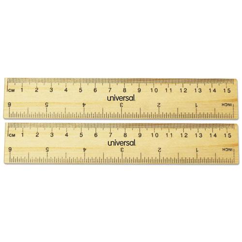 Flat Wood Ruler, Standard/metric, 6