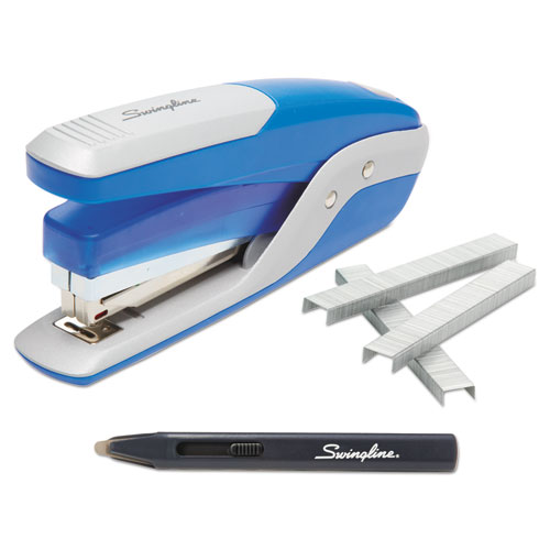 QUICK TOUCH STAPLER VALUE PACK, 28-SHEET CAPACITY, BLUE/SILVER