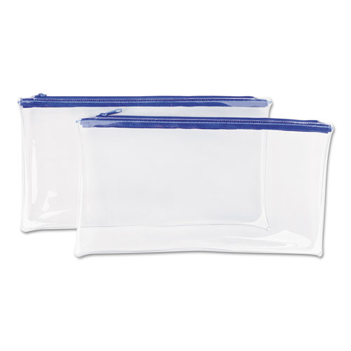 ZIPPERED WALLETS/CASES, 11 X 6, CLEAR/BLUE, 2/PACK