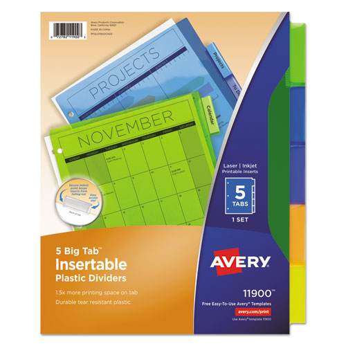 INSERTABLE BIG TAB PLASTIC DIVIDERS, 5-TAB, 11 X 8.5, ASSORTED, 1 SET
