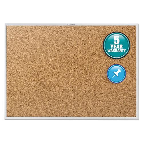 Classic Series Cork Bulletin Board, 48 X 36, Silver Aluminum Frame