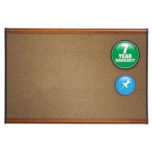Prestige Bulletin Board, Brown Graphite-Blend Surface, 48 X 36, Cherry Frame