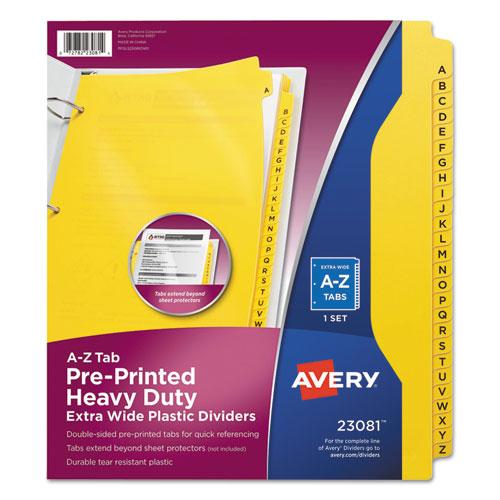 HEAVY-DUTY PREPRINTED PLASTIC TAB DIVIDERS, 26-TAB, A TO Z, 11 X 9, YELLOW, 1 SET