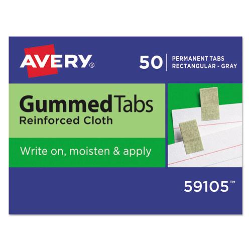 GUMMED REINFORCED INDEX TABS, 1/12-CUT TABS, GRAY, 0.44