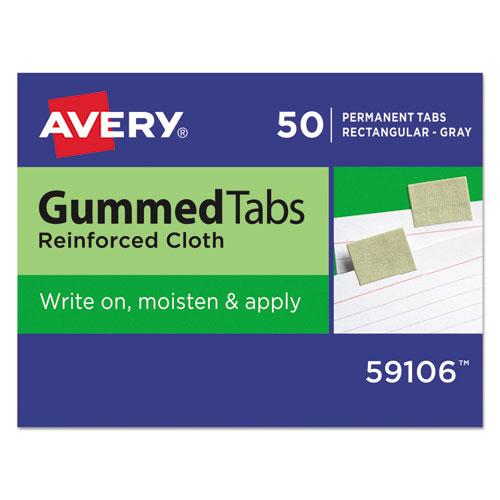 GUMMED REINFORCED INDEX TABS, 1/5-CUT TABS, OLIVE GREEN, 1