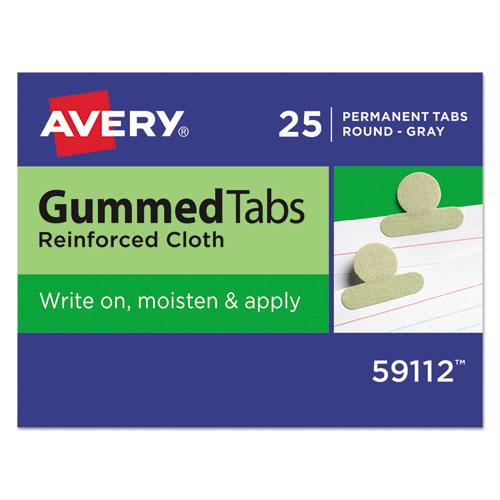 GUMMED REINFORCED INDEX TABS, 1/12-CUT TABS, OLIVE GREEN, 0.5