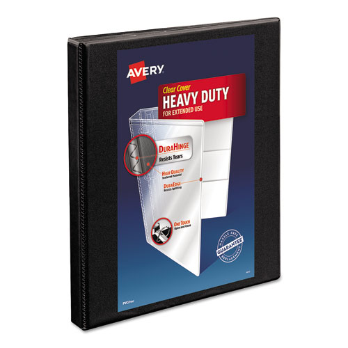 HEAVY-DUTY NON STICK VIEW BINDER WITH DURAHINGE AND SLANT RINGS, 3 RINGS, 0.5