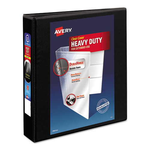 HEAVY-DUTY NON STICK VIEW BINDER WITH DURAHINGE AND SLANT RINGS, 3 RINGS, 1.5