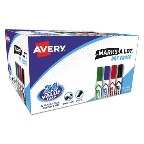 MARKS A LOT DESK-STYLE DRY ERASE MARKER VALUE PACK, BROAD CHISEL TIP, ASSORTED COLORS, 24/PACK