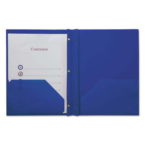 Plastic Twin-Pocket Report Covers With 3 Fasteners, 100 Sheets,navyblue, 10/pk