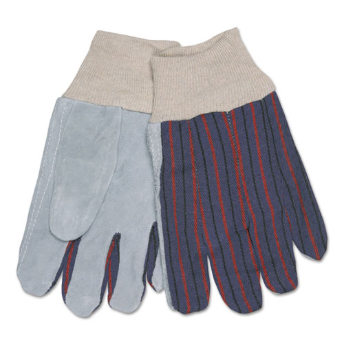 Image for 1040 Leather Palm Glove, Gray/white, Large, Dozen