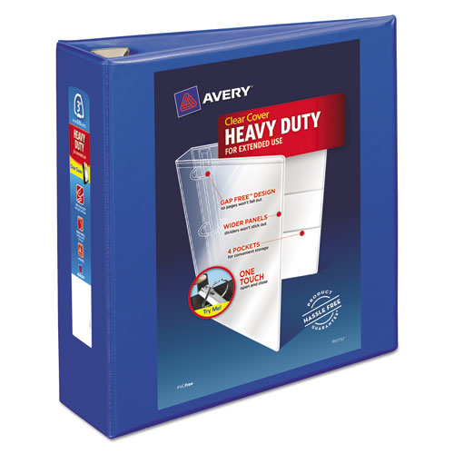 HEAVY-DUTY VIEW BINDER WITH DURAHINGE AND LOCKING ONE TOUCH EZD RINGS, 3 RINGS, 3