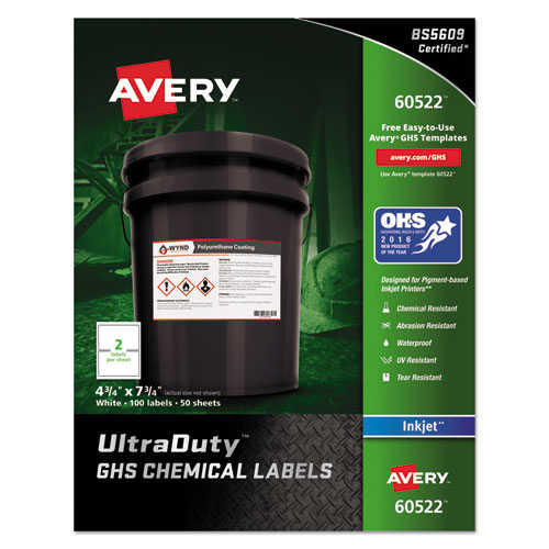 ULTRADUTY GHS CHEMICAL WATERPROOF AND UV RESISTANT LABELS, 4.75 X 7.75, WHITE, 2/SHEET, 50 SHEETS/PACK
