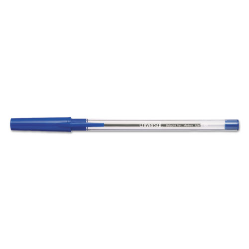 SMOOTH GRIP STICK BALLPOINT PEN, MEDIUM 1MM, BLUE INK, CLEAR BARREL, 24/PACK