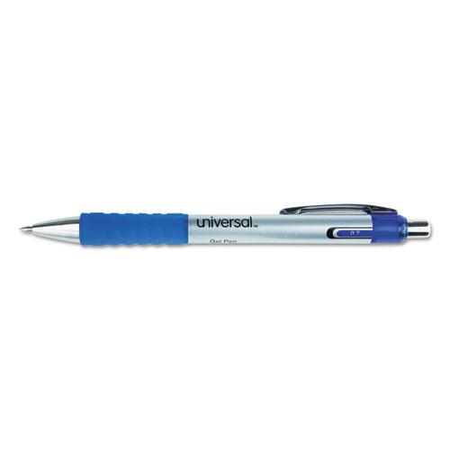 COMFORT GRIP RETRACTABLE GEL PEN, MEDIUM 0.7MM, BLUE INK, SILVER BARREL, DOZEN